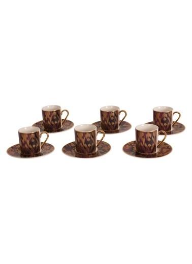 Sembol Fuşya Buğulu Desen 6 Lı Kahve Takımı Renkli